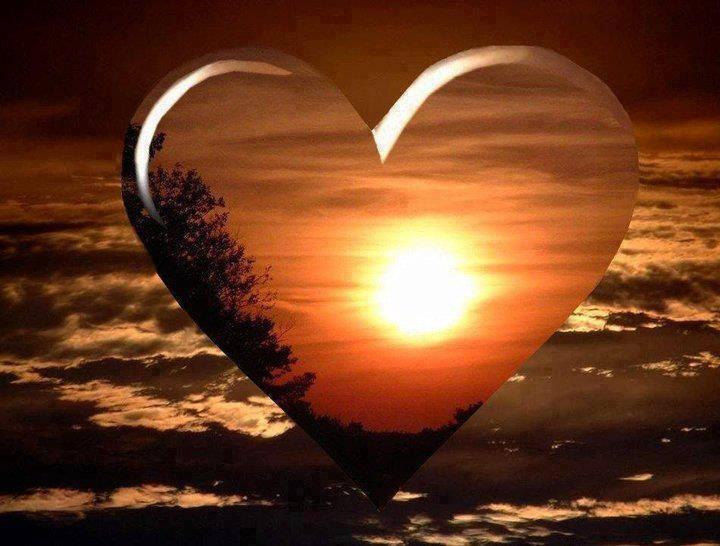 imagini apus de soare,inima si soare